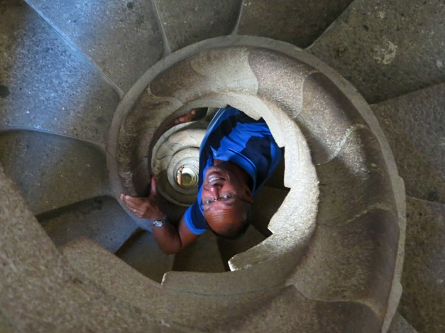 Jim climbs down from the Nativity towers at Sagrada Familia