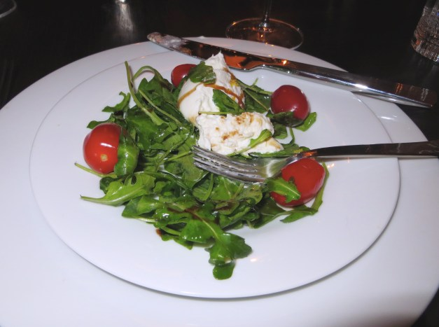 One of the courses was this great arugula and burrata salad. Unfortunately after designing the menu and buying the groceries Todd saw Mark's blog post from Italy that said if you're arugula isn't from Italy you're eating crap. It was still good, even if not from Italy.