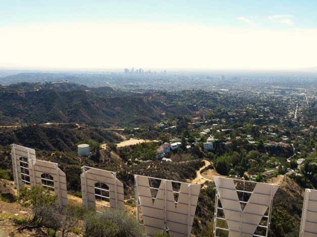 LA from behind the Hollywood sign. In real life that haze hanging over the city was an ugly brown, a sure sign that people there should drive less!