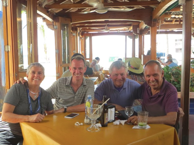 We've really enjoyed chances to visit with friends and family on this adventure. Mark's Uncle Bill and Aunt Debbie had a day in Cozumel - an island off Play a few miles - while on a Caribbean cruise, so we caught a boat over there to have lunch with them. Such a treat!