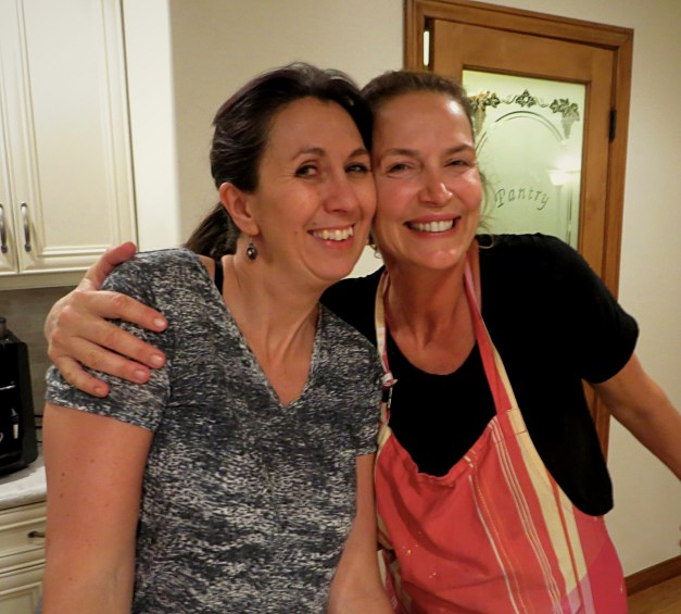 My sister Rebecca & sister-in-law Anita taking a very brief break from feeding us and taking care of … everything