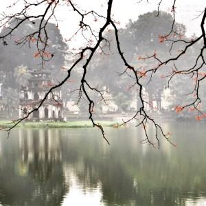 Mark's masterpiece, Thap Rua in the mist across Hoan Kiem Lake