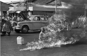 Malcolm Browne's Pulitzer Prize-winning photo of Thích Quảng Đức's self-immolation. It's not hard to understand the visceral impact the photo's publication had.
