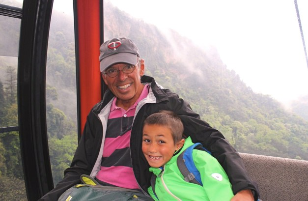 Jim & Jacob on the cable car working our way up the mountain
