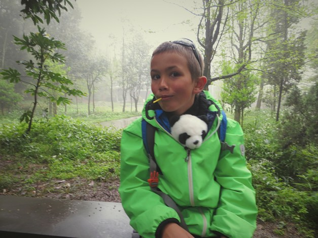 Each of the kids had a stuffed panda as a traveling companion. Here Jacob is keeping his warm and dry.