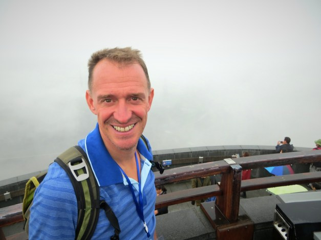 Our final stop was the Three Gorges Dam itself. Here Mark is standing on a viewing platform to see the locks. Oops - too much fog!
