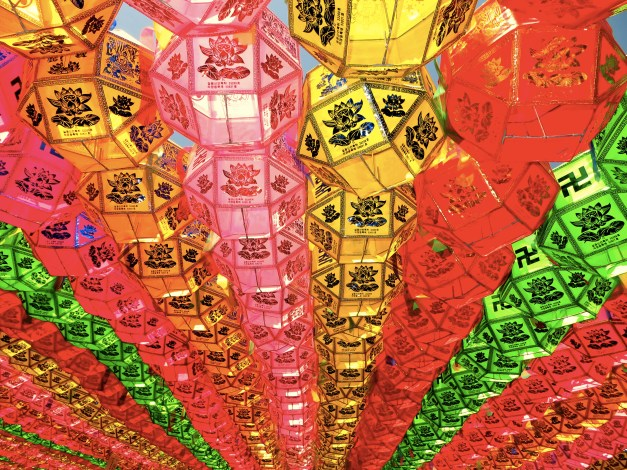 These plastic light shades blanketed large areas of the temple adding a beautiful touch to the temple