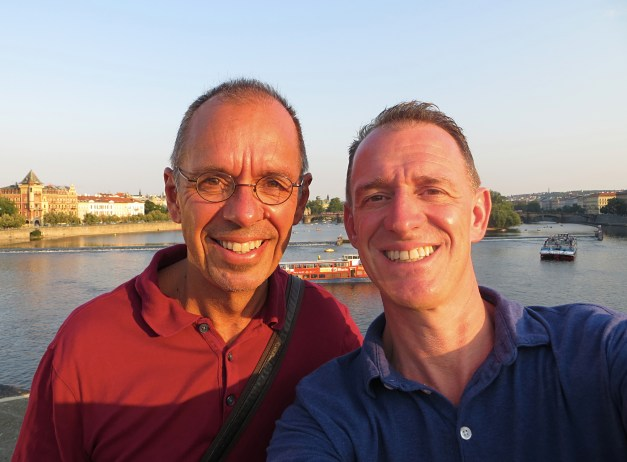 Me and Mark crossing the Vltava River, which runs through Prague, in the early evening light