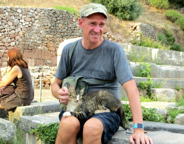 And happy Mark, with a kitty at the temple of Athena