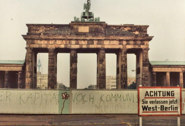The Brandenburg Gate viewed from the West Berlin side during Mark's visit here in 1984. It was in the no-man's land along the Berlin Wall and thus utterly abandoned.