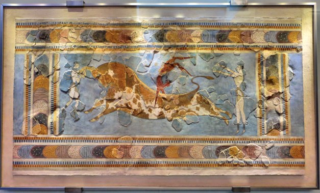 Bull leaping was a big sport among the Minoans. This fresco shows one womn holding the bull by the horns while a dark-skinned man does a backwards somersault over the bull. A second woman waits in back of the bull to catch him. I think they should revive this sport and put it in the Olympics!