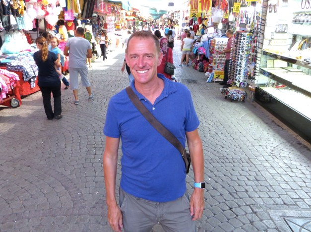 Mark in Izmir's bazaar. This was relatively early in the day, but it gets more lively later on.