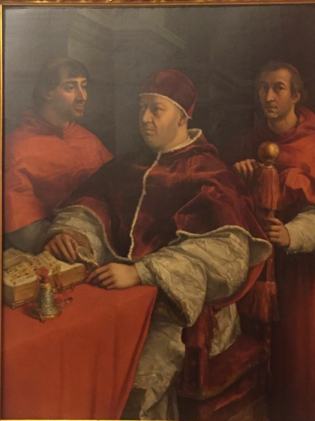 Raphael did this portrait of Pope Leo X, born a Medici, along with two Cardinals. Two young cardinals, who happened to be his nephews. And Medicis. Crazy coincidence, huh?