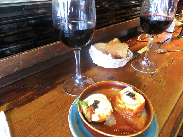 An incredible cheese and eggplant dish at Bar el Frances, the tiny, crowded tapas bar we could only get into for lunch
