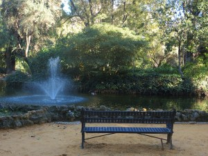This quiet spot with a pretty little fountain was my reading room one afternoon