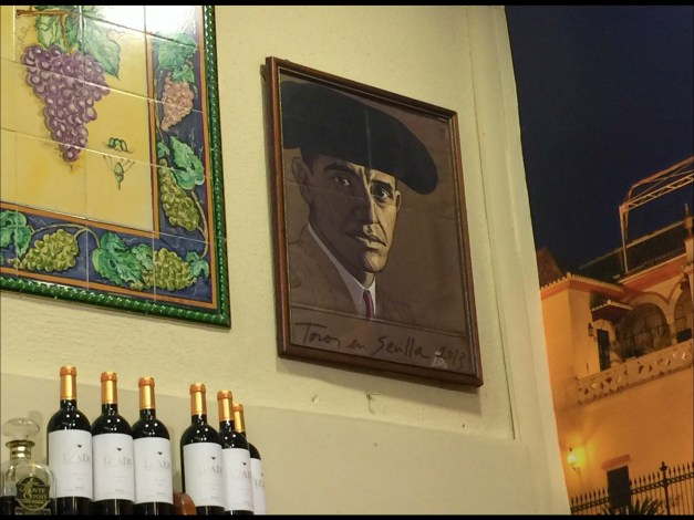 Speaking of tapas and wine, we're sitting at one tapas bar, look up, and see what sure looks like none other than Barack Obama watching us, dressed up as a bull fighter. To make it really bizarre we saw this painting in two separate places!