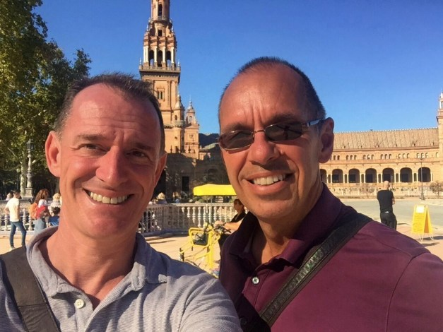 Mark & I in front of the Plaza de España, a beautiful mix of Renaissance and Moorish architecture built in 1928