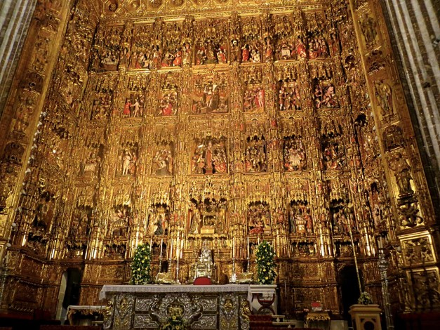The Cathedral's brilliant, gaudy altarpiece