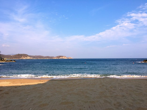 One of many fine beaches around Huatulco in the late afternoon shadows