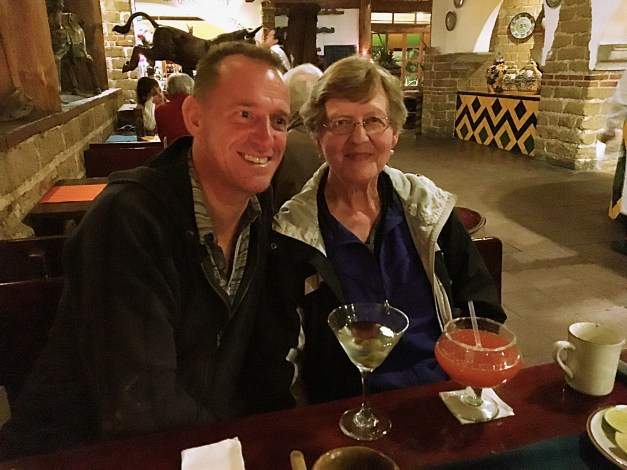 Mark and his martini and his mother with her strawberry daiquiri at Hacienda Real