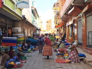 A street scene in Copacabana. Bolivia is a poor country - noticeably poorer than Peru - and you see it here in our first stop. Note the cool bowler hats the women wear; I'm sure there's a good story behind them.