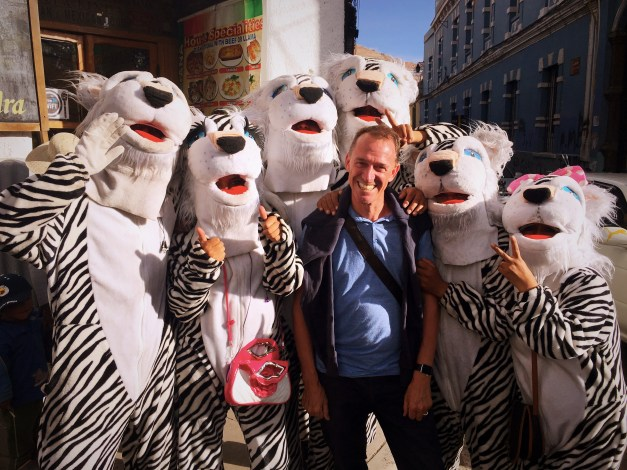 And finally, these tigers were all over central Potosí when we got in. We never figured out the significance of them, but they all seemed to like Mark.