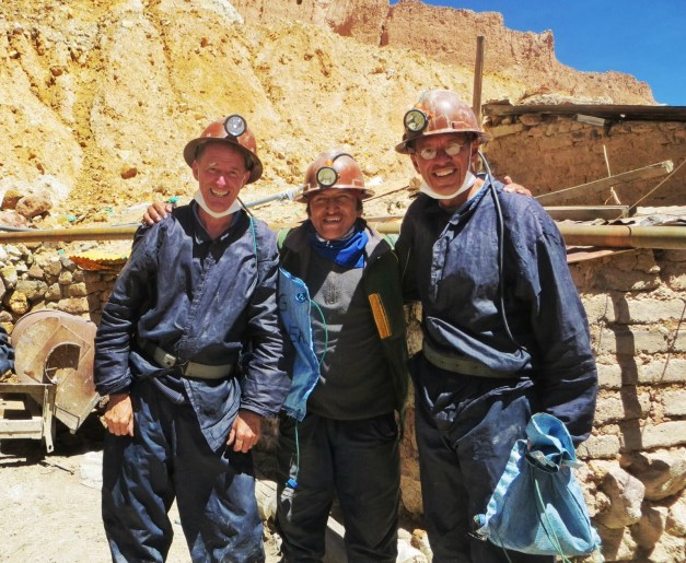 Mark & I with our guide Wilson, himself a former miner, after our tour of Cerro Rico. You definitely needed the hard hat and light and face mask and all that inside the mine.