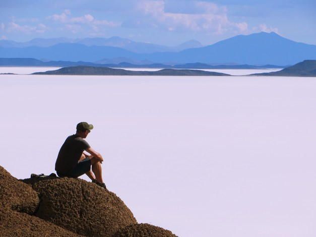 Mark contemplating the meaning of life. You feel pretty insignificant up here.