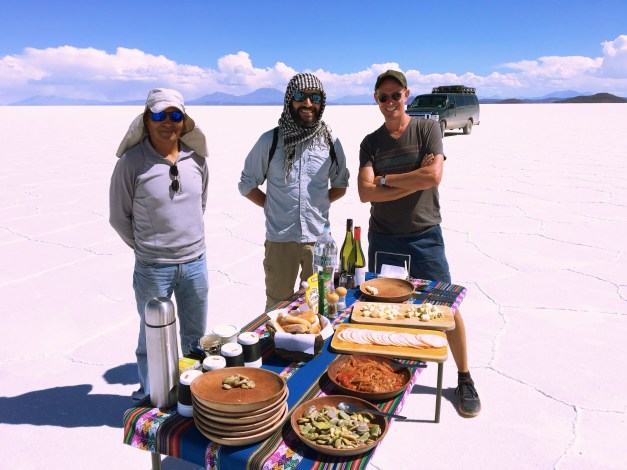 A nice lunch spread. Mark with our driver and guide.