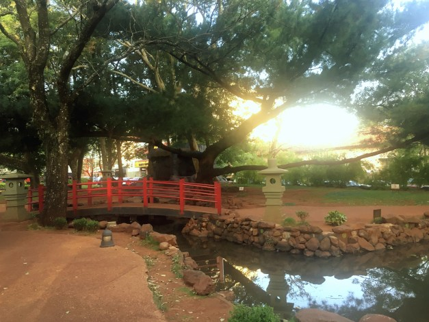 The main square in Encarnación had an unexpected Japanese garden