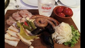Sausage, sauerkraut, pickled stuff, smoked lard, and vodka, the perfect Ukrainian appetizer