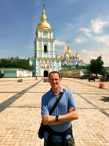 Mark outside St. Michael's Monastery, a 21st century replica of the 12th century original demolished by Stalin in 1937