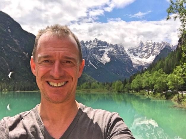 Mark at Lago di Landro, pretty much a perfect Alpine lake