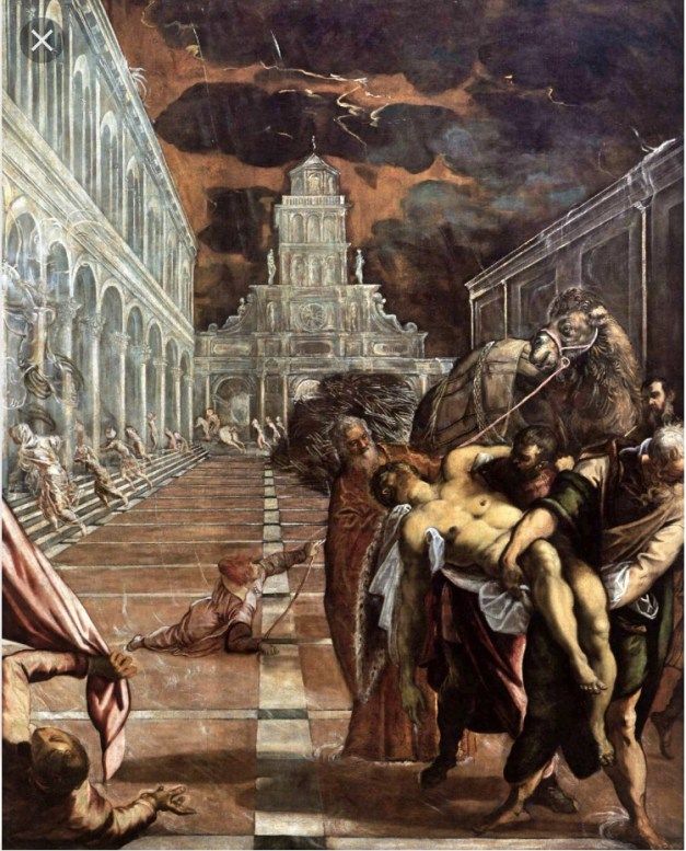 """More art from the Gallerie dell'Accademia, this one Tintoretto's """"Theft of the Body of St. Mark."""" Another great story. St. Mark's corpse was supposedly in Alexandria, Egypt. But as he was the patron saint of Venice, Venetian leaders wanted his relics there. So a few guys went to Egypt and just stole the body, or what they at least believed was the body. Their story was that Mark had spent time in Venice and intended for his earthly remains to spend eternity there. A little hard to swallow since Venice didn't exist when Mark walked the earth, but hey, that's just a technicality. To make matters worse, the Venetian church his body was stored in was burned to the ground during a political disturbance and his bones were destroyed in the fire. Until, that is, some enterprising religious leaders discovered that St. Mark in fact hadn't been in that church but that his real bones were in a different one. So *presto* his relics are still there!"""