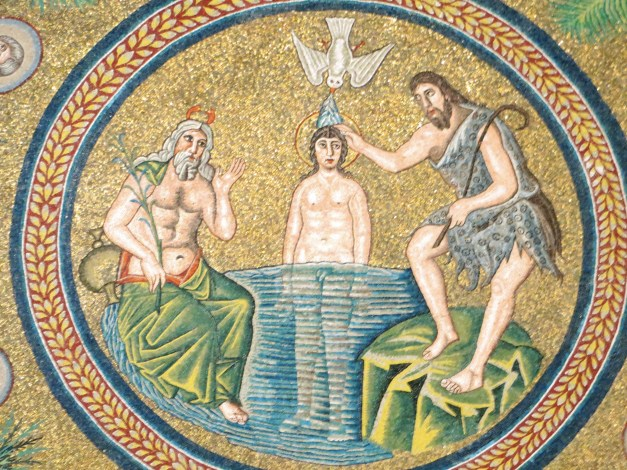 The Baptism of Jesus in the Baptistry of the Ariani. This was our first glimpse of Ravenna's mosaics and it was duly impressive. That's Jesus standing in the River Jordan, with John the Baptist doing his thing. We giggled when we noticed you could see Jesus's penis.