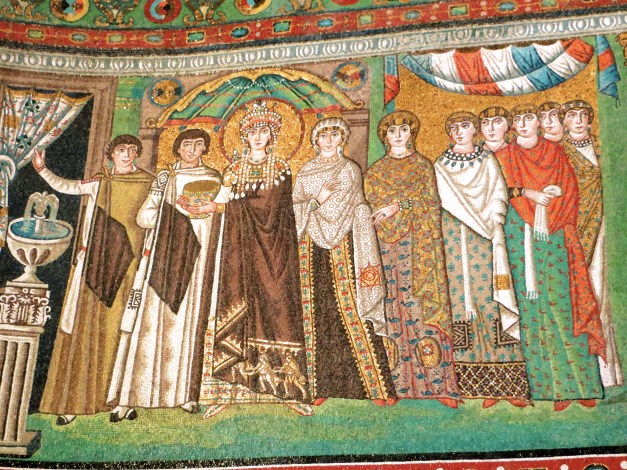 Empress Theodora, wife of Justinian, in the Basilica of San Vitale. This image of her is all over Ravenna. Note the three Magi bearing gifts in the hem of her gown.