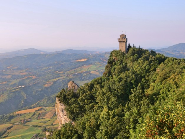 An old tower atop Mount Titano, protecting San Marino from raging Italians