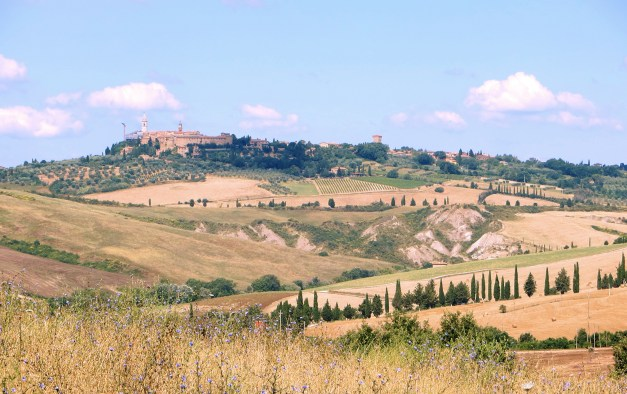 The town of Pienza from our stroll through the Tuscan hillside