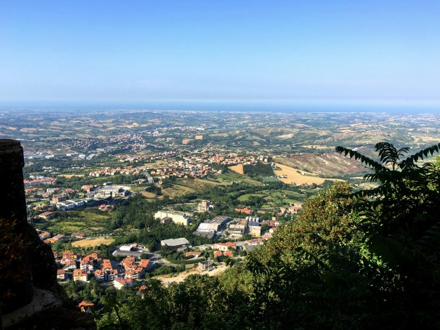 An early morning view of the Adriatic coast from San Marino