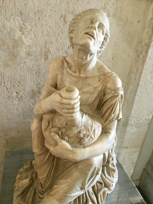 From the Capitoline Museum, Mark and I both loved this old statue of a drunken woman clinging to her wine bottle