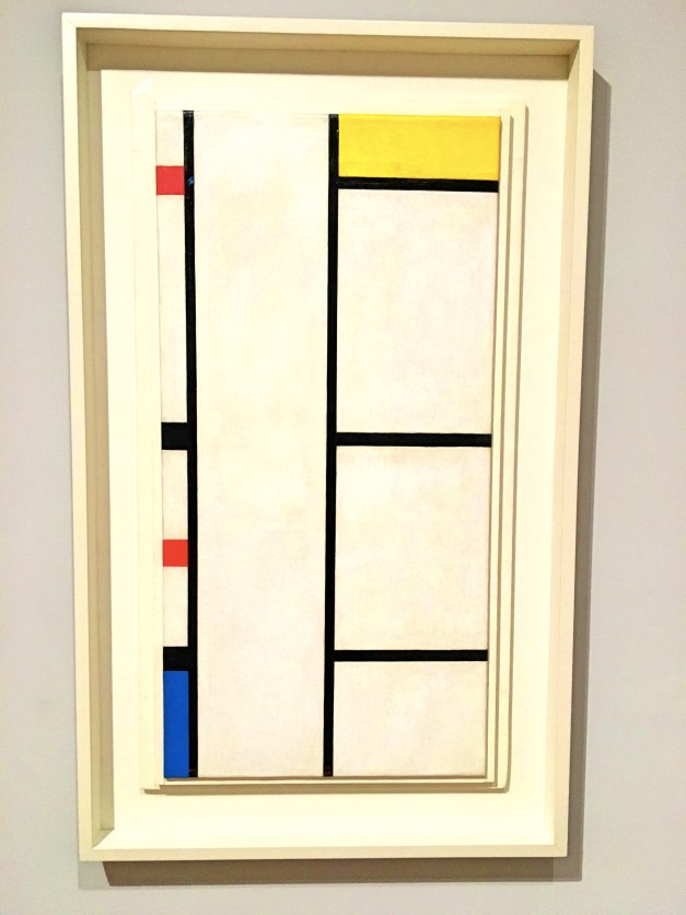 "Mondrian did this initially in 1935, when Paris was laying railroad tracks and stringing electric wires. Everything was all straight lines and all that, and in the original version there was no color, only the black lines on white. Then he moved to New York, learned to love jazz, and, in 1942 added the blue, red, and yellow boxes, ""bringing in a little boogie-woogie,"" as he put it."