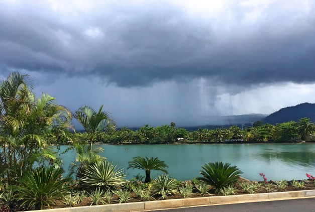 The weather out here is fascinating. It can go from sunny to stormy and back again in a matter of only a few minutes. This is from right outside our hotel as we planned on walking into Apia.