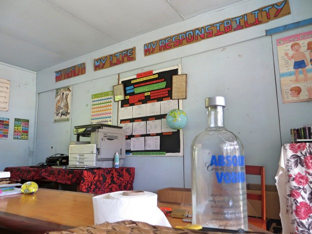 "We toured a tiny school one day when we went ashore. Needless to say, I loved the slogan ""My Health, My Life, My Responsibility"" with an empty bottle of Absolut on the table."