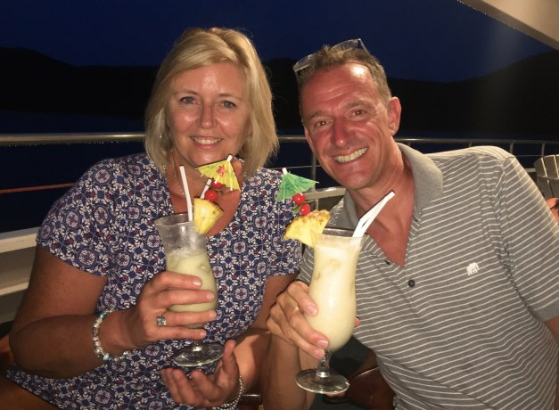 My favorite picture from the cruise, Mandi & Mark. It's worth noting that we don't drink those kind of fruity tropical drinks, so Mark is just holding her husband's drink. But he didn't like it either, so Mandi was a lot of fun as the night got going!