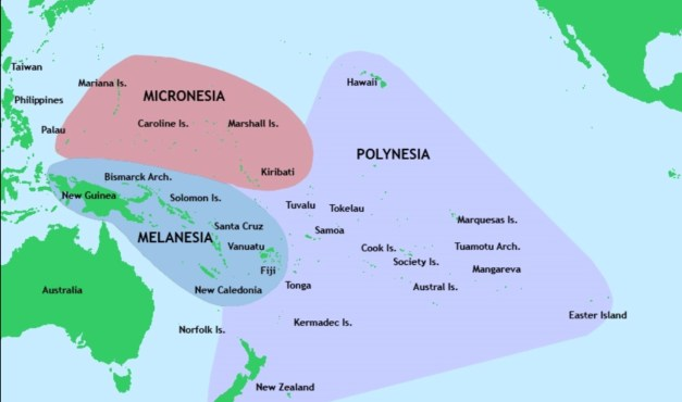 Polynesia, Melanesia, and Micronesia, in case you were wondering what's where