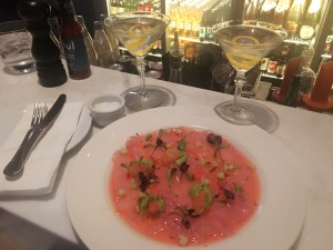 A night at Soul, a classy bar/restaurant with fabulous Vespers and this great raw fish dish