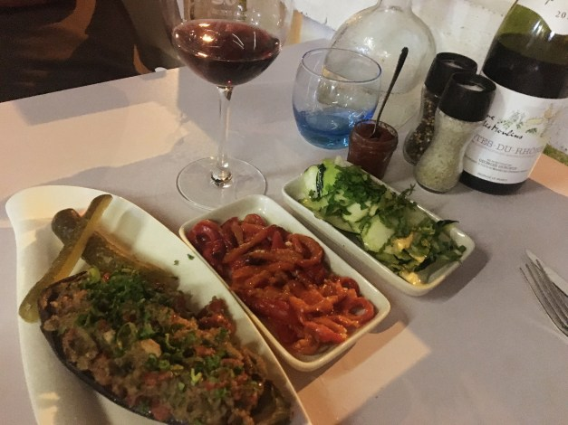 Some of the mezzes available at So Food. We had the eggplant dish on the left a couple times and we absolutely loved it. Mark was a big fan of the Tunisian harissa up near the top