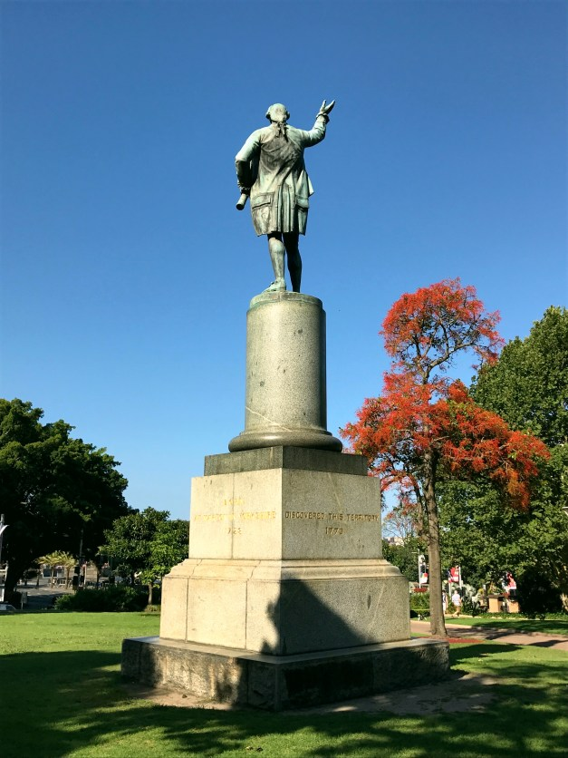 "A statue of James Cook in the beautiful Hyde Park, described as having ""discovered"" Australia. Strange concept to ""discover"" something where thousands of people already live."
