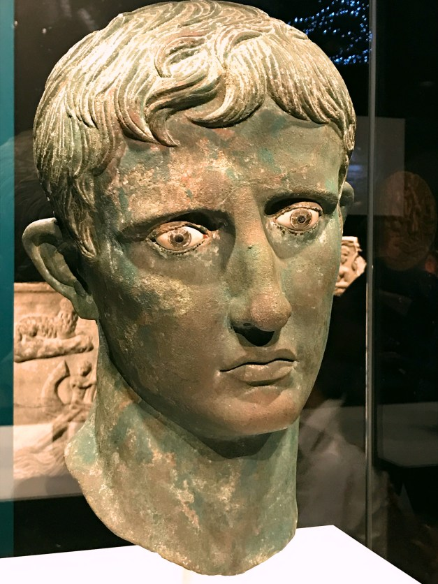 A bust of Caesar Augustus whose statues always portrayed him as young even after he'd served as the First Citizen for decades