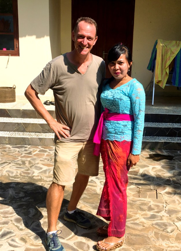 Two mornings later, all was clean again. This is our housekeeper Julie (on the right) dressed up for a holiday at the local temple. She wasn't working that day but stopped by to put all the proper blessings in place around the property.
